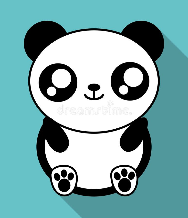 Kawaii Panda Icon Cute Animal Vector Graphic Stock Vector