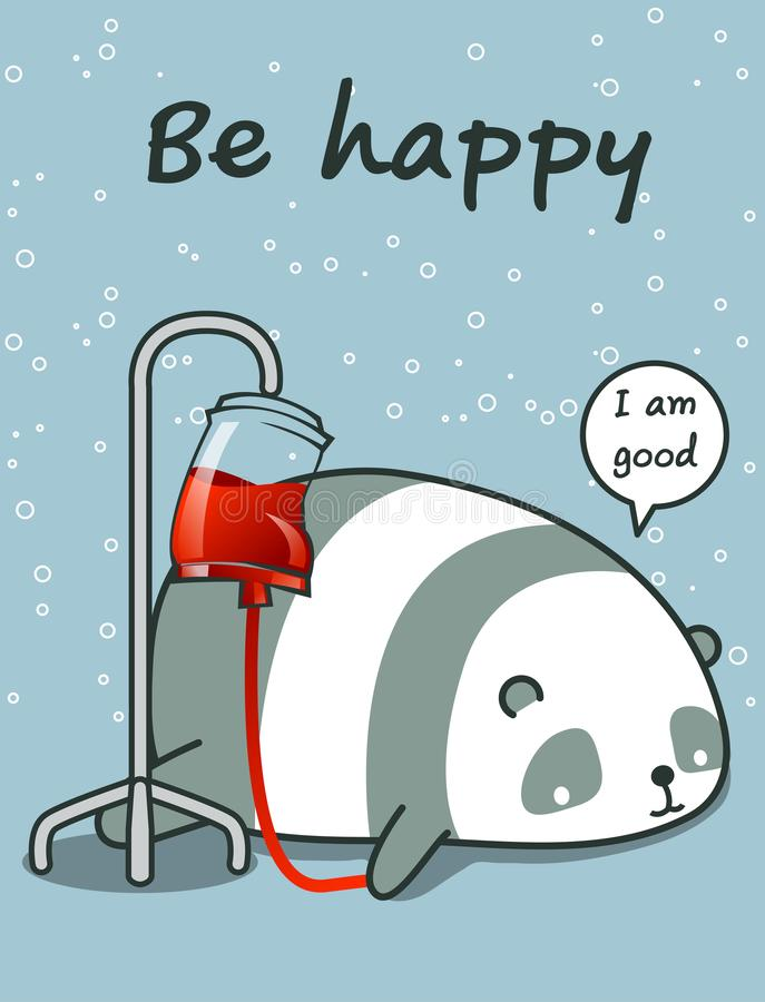 Kawaii-Panda ist krank vektor abbildung