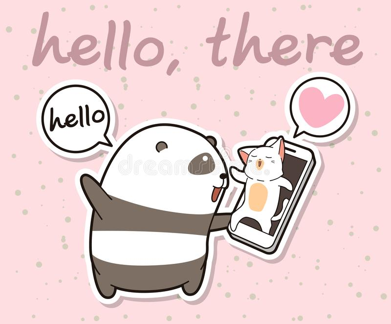 Kawaii panda is talking with cat via face time of smart phone royalty free illustration