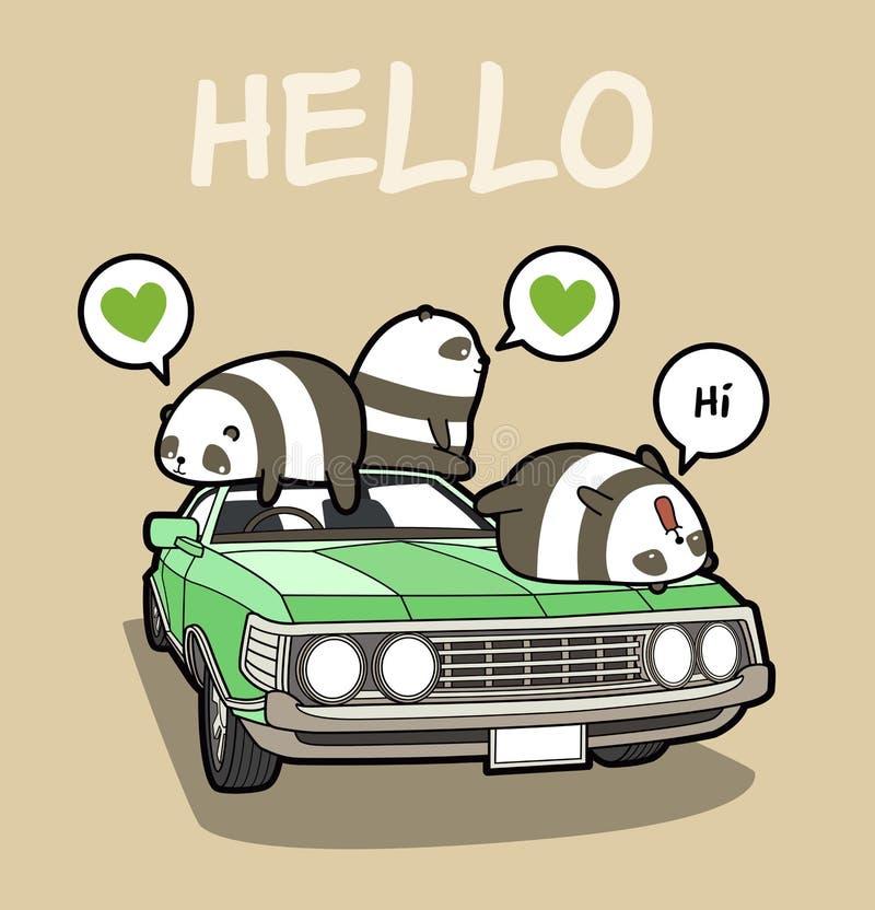 Kawaii pandas on the car royalty free illustration