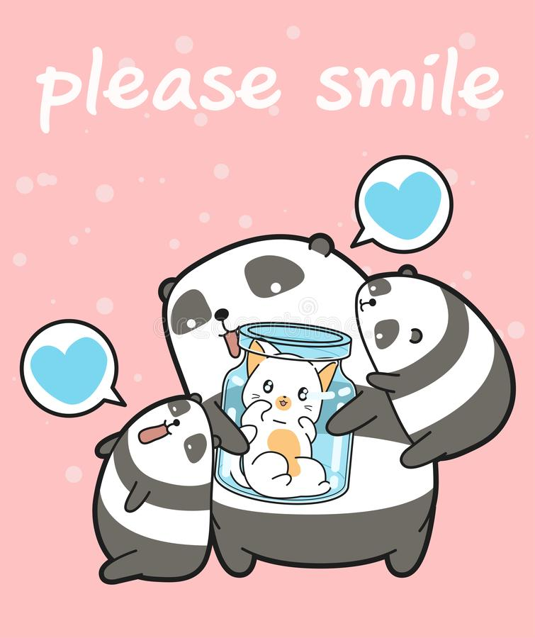 Kawaii pandas and cat in the bottle. In cartoon style vector illustration