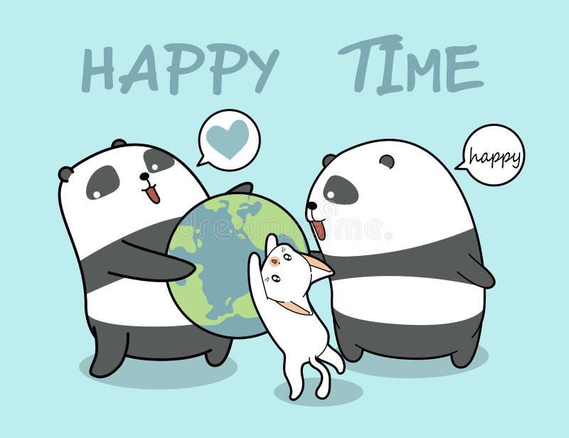 Kawaii pandas and cat loves the world vector illustration