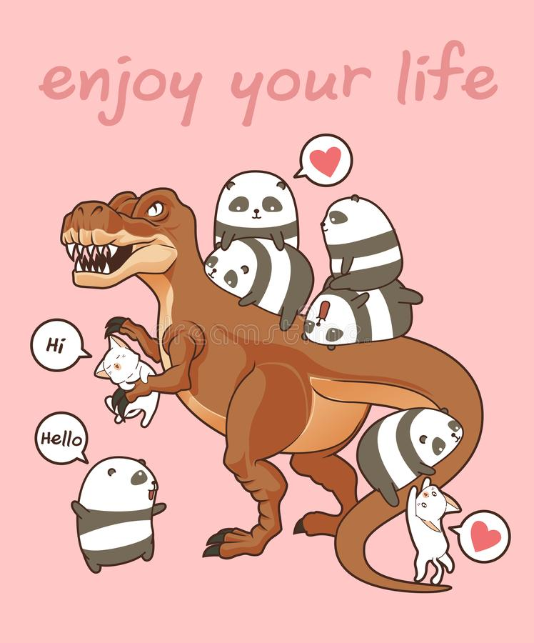 Kawaii pandas and cats with dinosaur stock illustration