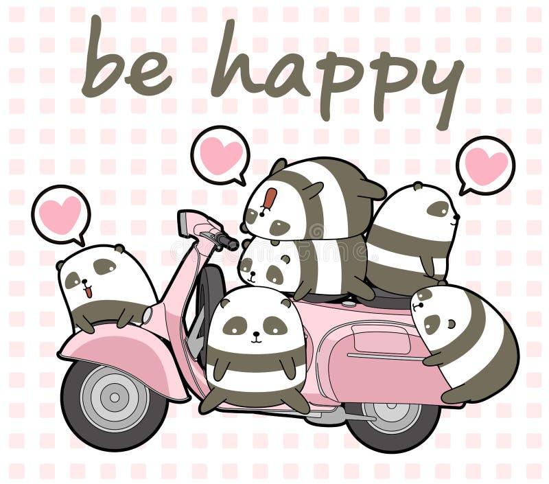 Kawaii pandas and pink motorcycle stock illustration
