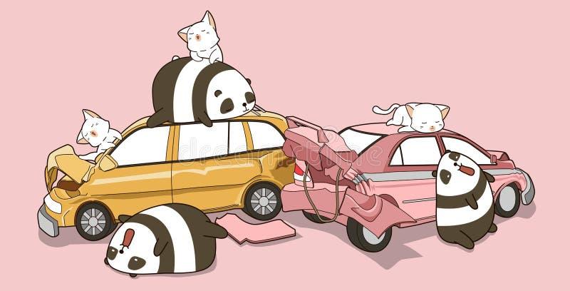 Kawaii pandor och katter i händelse för bilolycka royaltyfri illustrationer