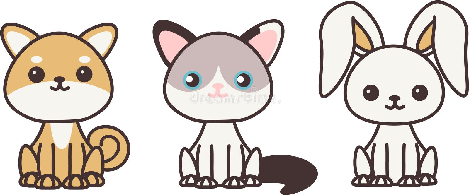 Kawaii pets. Cute little pets. Can be used on postcards, clothing design for children, some stickers etc royalty free illustration