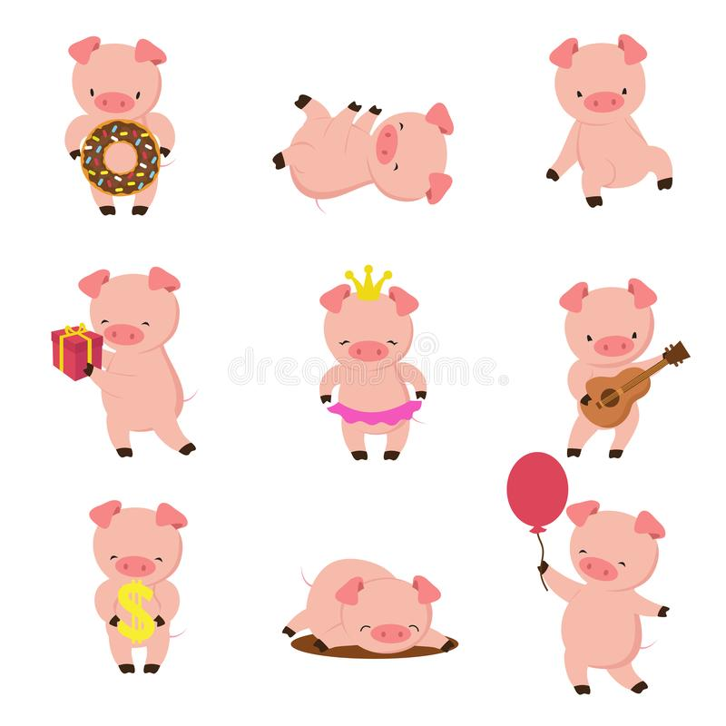 Kawaii pigs. Funny baby pig in mud, piggy eating and running. Cartoon swine vector character stock illustration