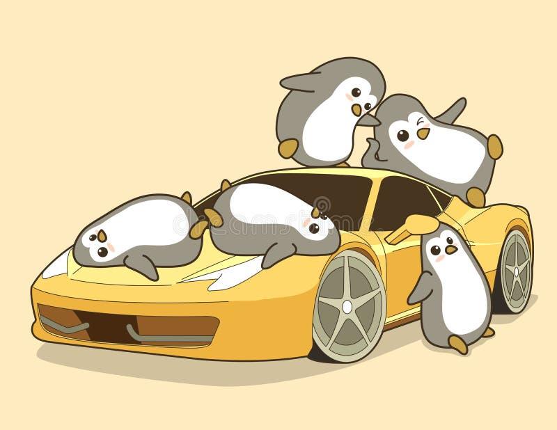 Kawaii pingvin och gul sportbil stock illustrationer