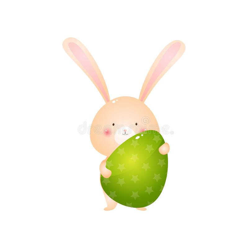 Cute rabbit holding big green easter egg isolated on white background royalty free illustration