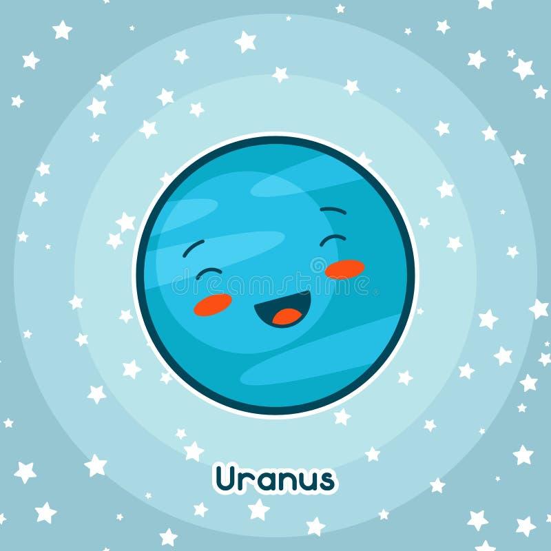 Kawaii-Raumkarte Gekritzel mit recht Gesichtsausdruck Illustration der Karikatur Uranus im sternenklaren Himmel lizenzfreie abbildung