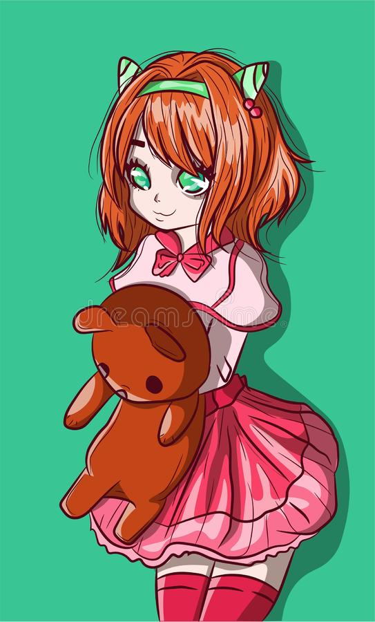 Kawaii redhead anime child with a teddy bear on her arms. Manga school girl and her plush animal, special relationship. Conceptual drawing about childhood and royalty free illustration