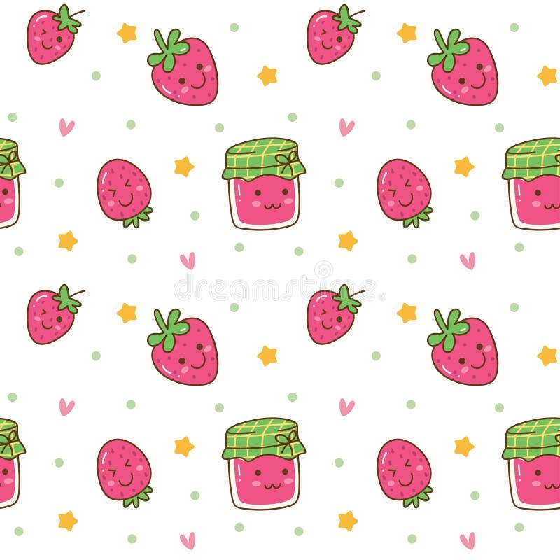 Kawaii sömlös bakgrund med jordgubbedriftstopp vektor illustrationer