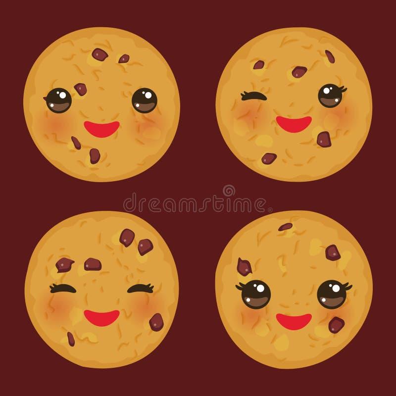 Kawaii-Schokoladensplitterplätzchen eingestellt frisch gebacken lokalisiert auf braunem Hintergrund Nettes Gesicht mit rosa Backe lizenzfreie abbildung