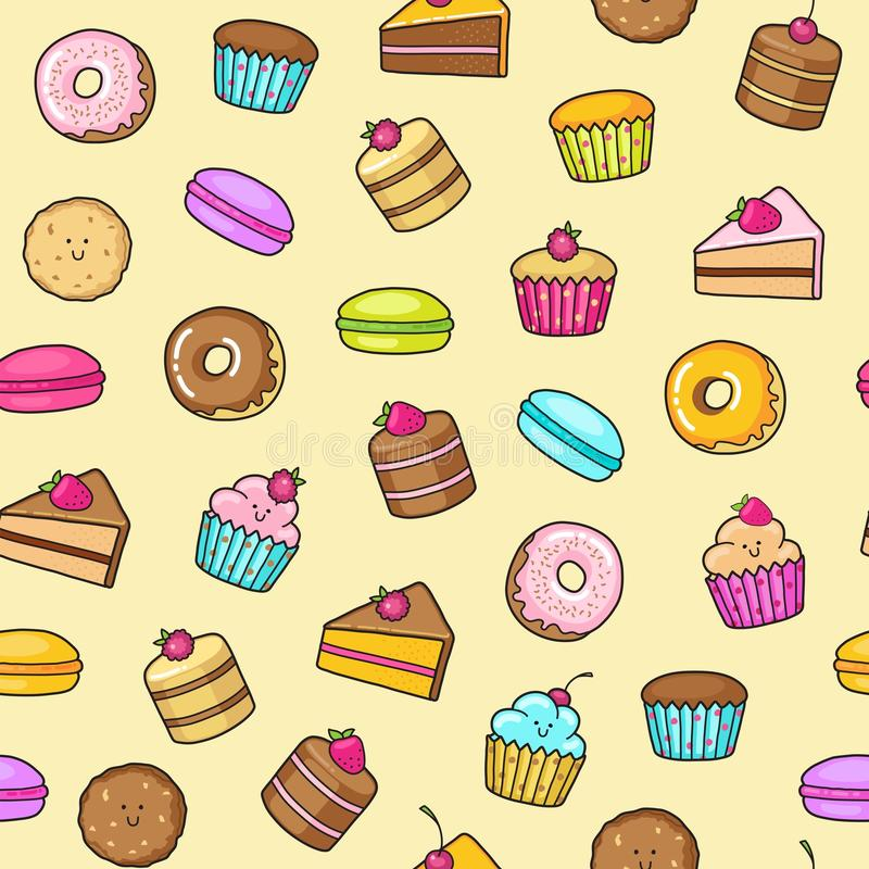 Kawaii seamless background of sweet and dessert doodle, cute cake, sweet donat, cartoon cookies and macaron stock illustration