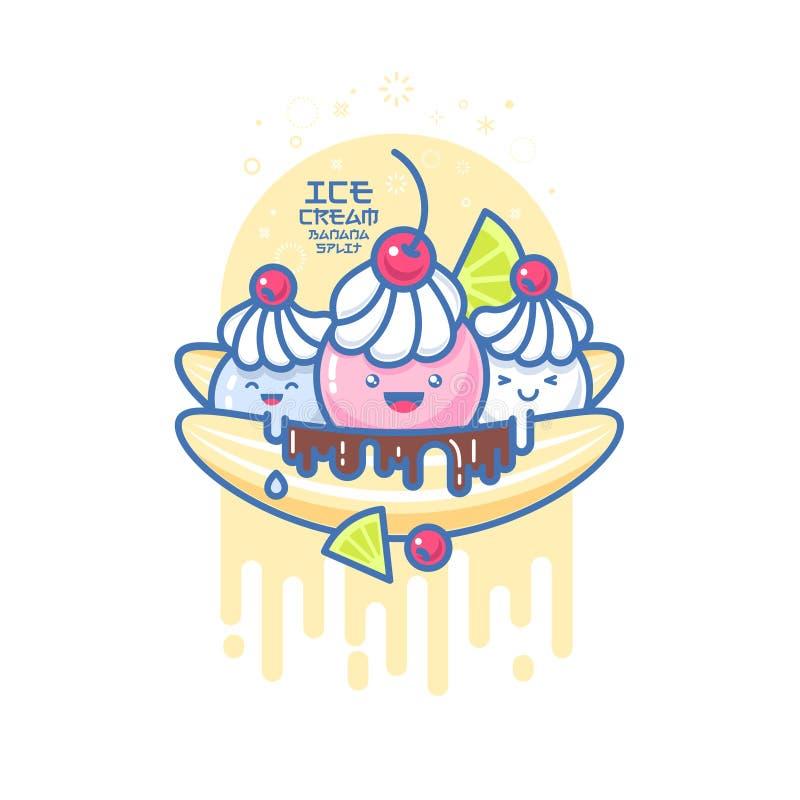 Kawaii smiled ice cream illustration. Colorful ice cream banana split. royalty free illustration