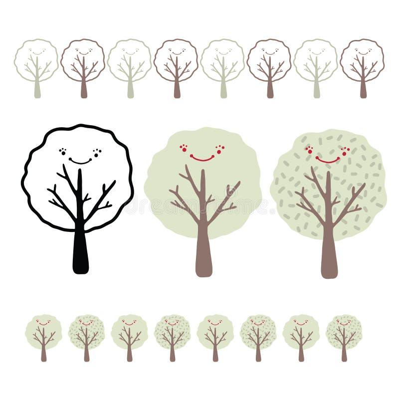 Kawaii Smiley twarzy ilustracji Drzewny Wektorowy set ilustracji