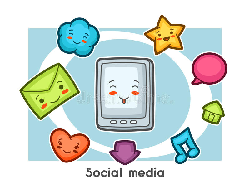 Kawaii social media gadgets funny card. Doodles with pretty facial expression.  vector illustration