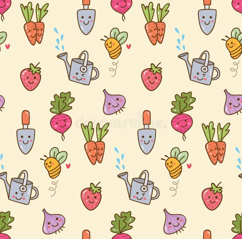 Kawaii som arbeta i trädgården med frukt och sömlös bakgrund för grönsaker vektor illustrationer