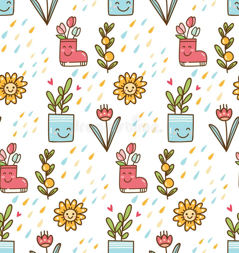 Kawaii spring with flower and bird background vector illustration