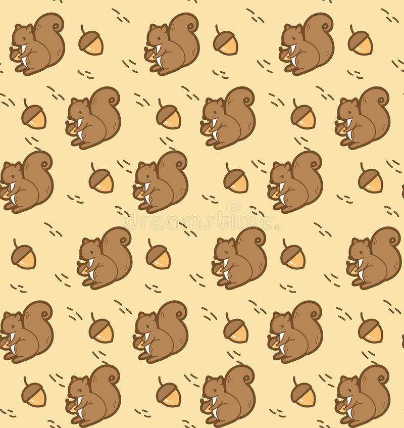 Kawaii squirrel with acorn seamless pattern vector illustration