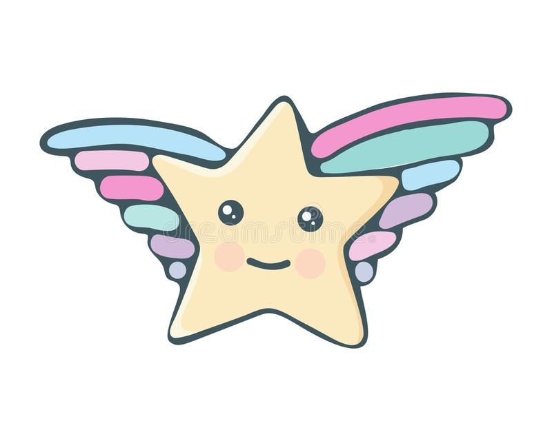 Kawaii star vector. Cute cartoon star with wings and smile. Cute star illustration for kids. Design children, stickers. Baby stock illustration