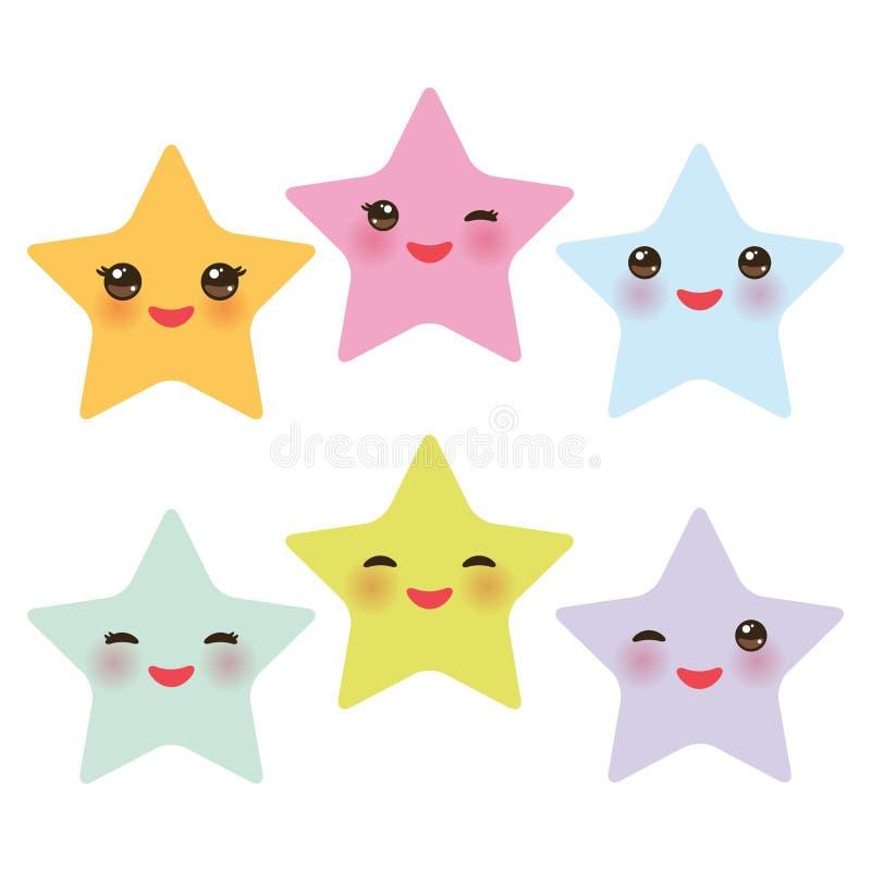 Kawaii-Sterne stellten, Gesicht mit Augen-, Jungen- und Mädchenrosa grün-blauen purpurroten gelben Pastellfarben auf weißem Hinte stock abbildung