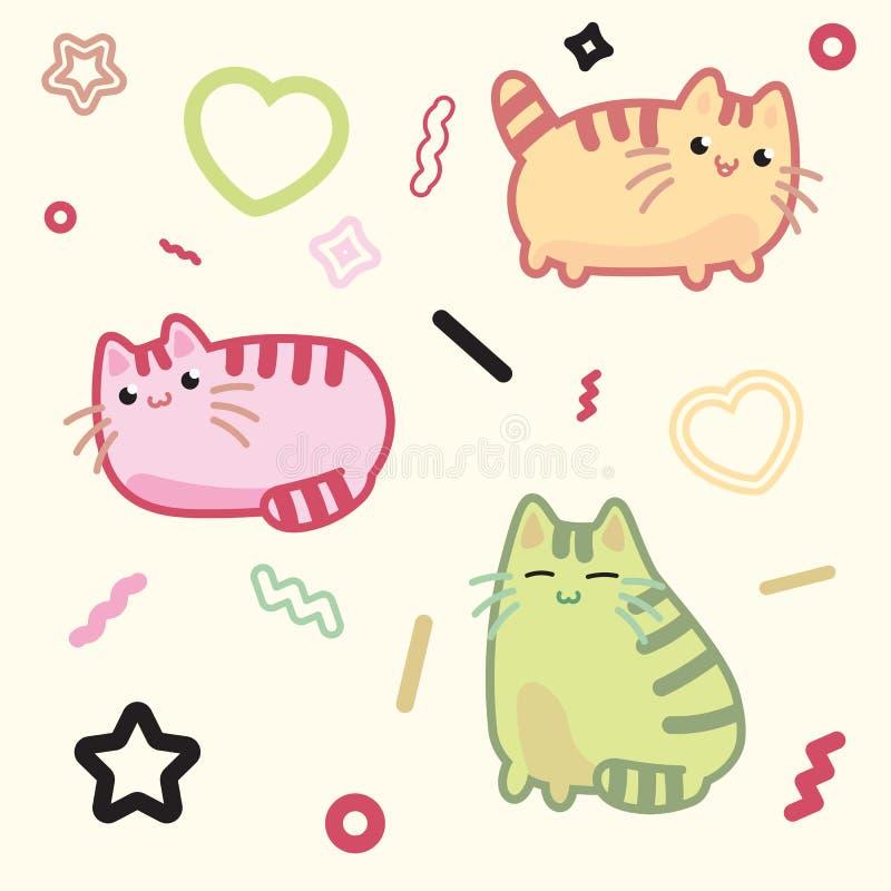 Kawaii stilkatt, kattunge, pott, älsklings- vektor på ljus bakgrund stock illustrationer
