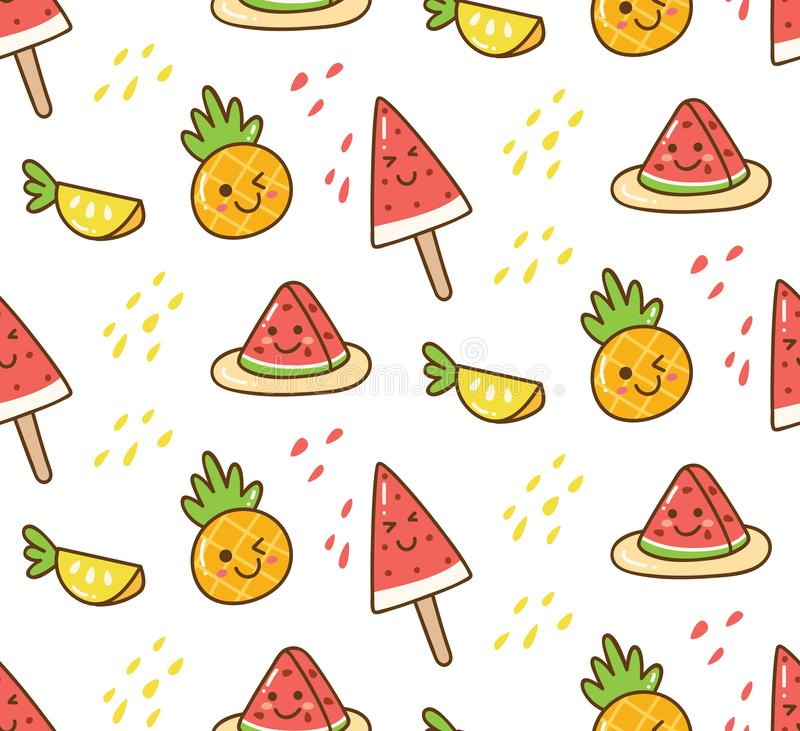 Kawaii summer pattern with watermelon and pineapple stock illustration