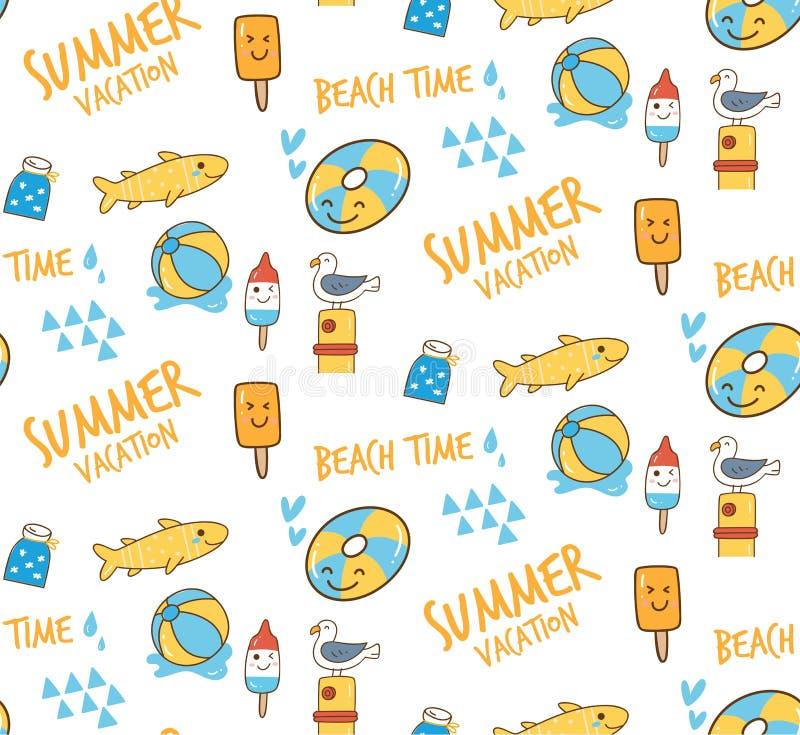 Kawaii summer themed doodle seamless pattern vector illustration