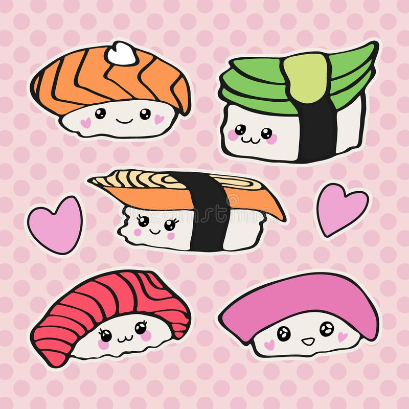 Kawaii sushi icon set, Doodle design of cute Japanese sus royalty free illustration