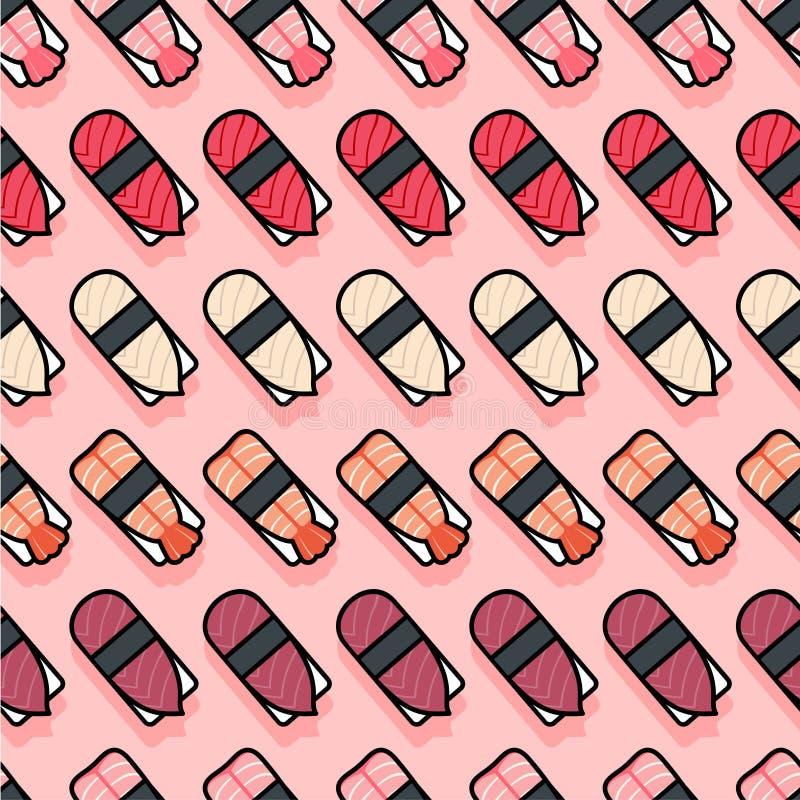 Seamless pattern. Sushi flat illustration. Sushi restaurant decoration. Kawaii sushi and nigiri on a pink background. stock illustration
