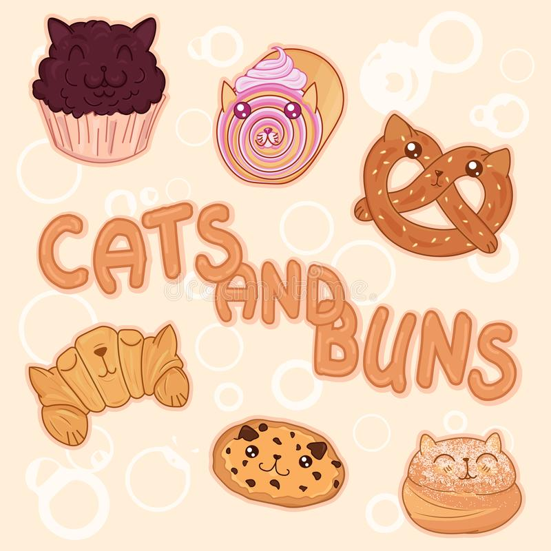 Kawaii sweet bakery cats, cute cartoon characters pretzel, cookie, croissant, creamy roll, chocolate muffin and bun vector illustration