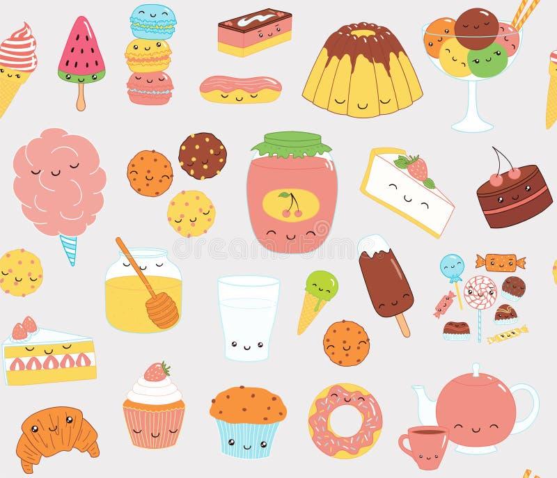 Kawaii sweet food pattern royalty free illustration