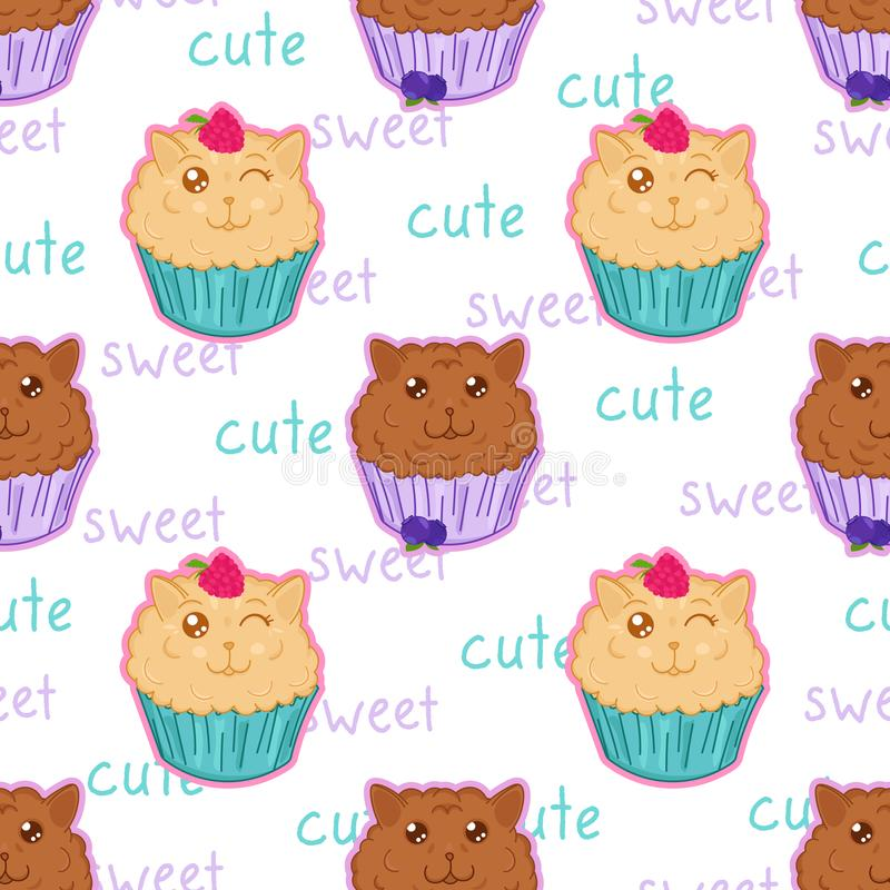 Kawaii sweet muffins cats with raspberry and blueberry seamless pattern, cute cartoon funny character royalty free illustration