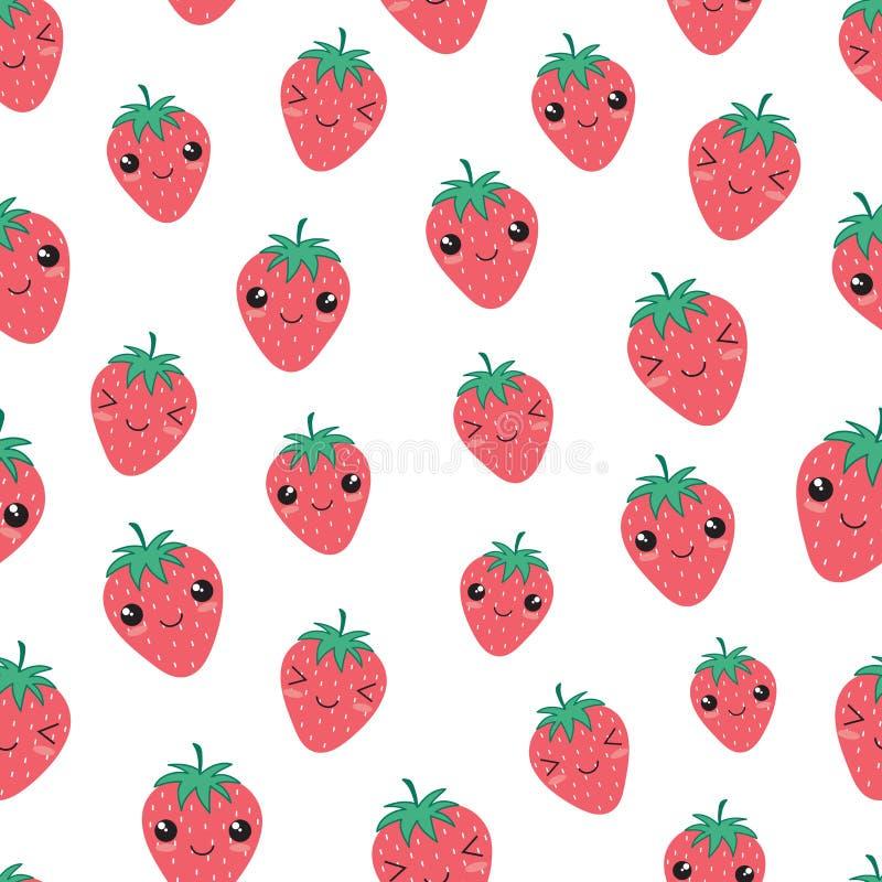 Kawaii szczęśliwy truskawkowy bezszwowy deseniowy wektor royalty ilustracja