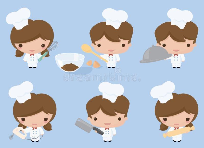 Kawaii szefowie kuchni royalty ilustracja