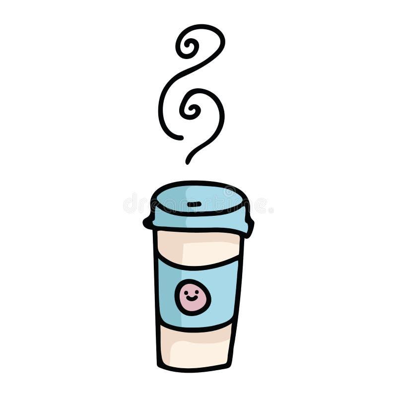 Kawaii takeaway kawowej kreskówki motywu wektorowy ilustracyjny set royalty ilustracja