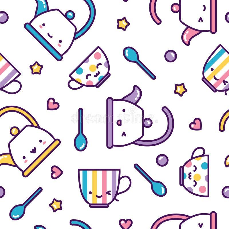 Kawaii tea cups and kettles seamless pattern cute pastel royalty free illustration