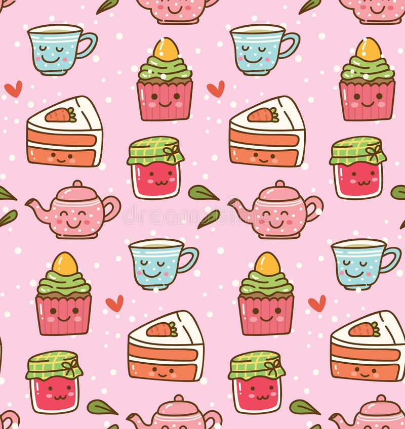 Kawaii tea time with cute cake and strawberry jam seamless pattern vector illustration