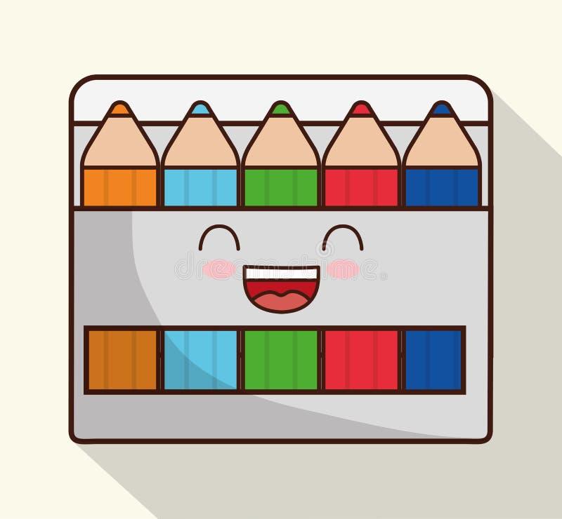 Kawaii tecknad filmsymbol Skoladesign som stylized swirlvektorn för bakgrund det dekorativa diagrammet vågr stock illustrationer
