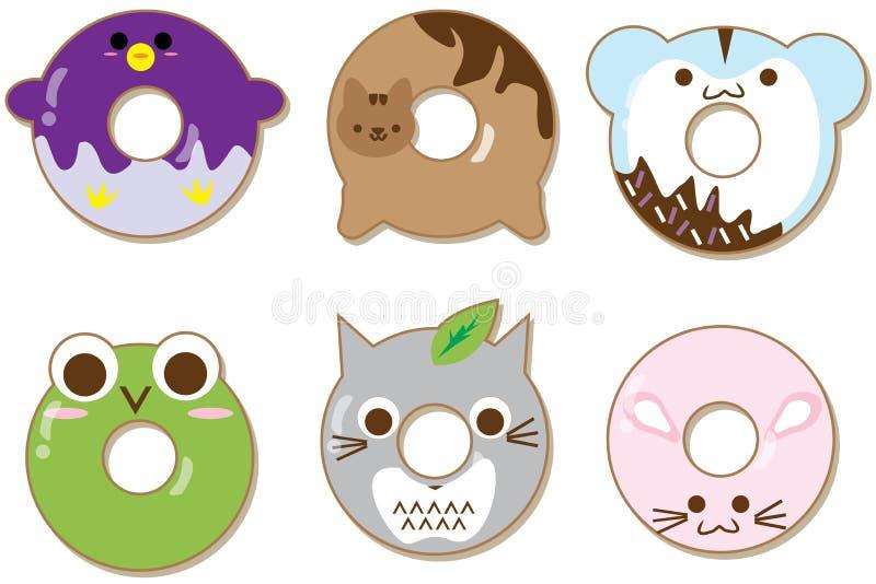 Kawaii-Tierschaumgummiringe eingestellt lokalisiert auf Weiß Nette Zeichentrickfilm-Figuren vektor abbildung