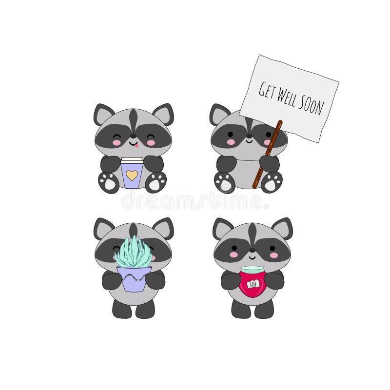 Kawaii tvättbjörnuppsättning stock illustrationer