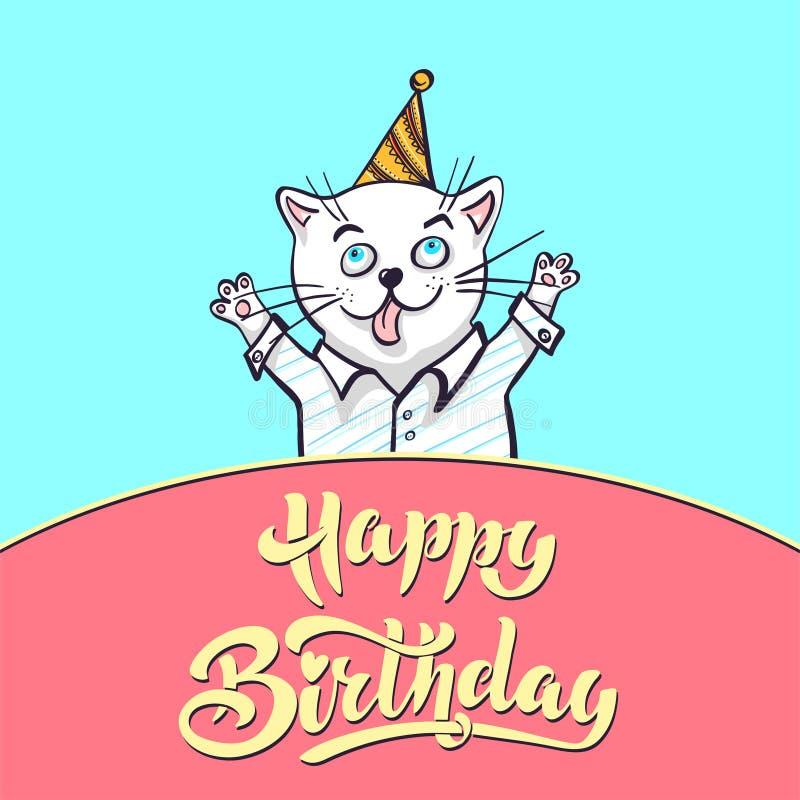 Kawaii, um gato em uma camisa e em um tampão rotulando o feliz aniversario, ilustração do vetor Cartão, tirando para seu projeto  ilustração royalty free