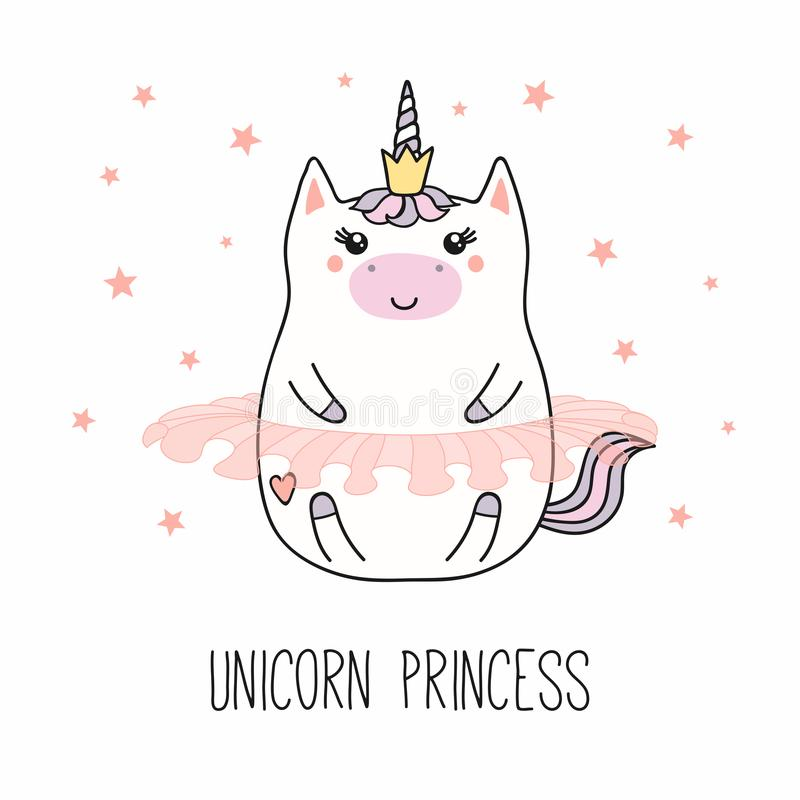 Kawaii unicorn princess stock illustration