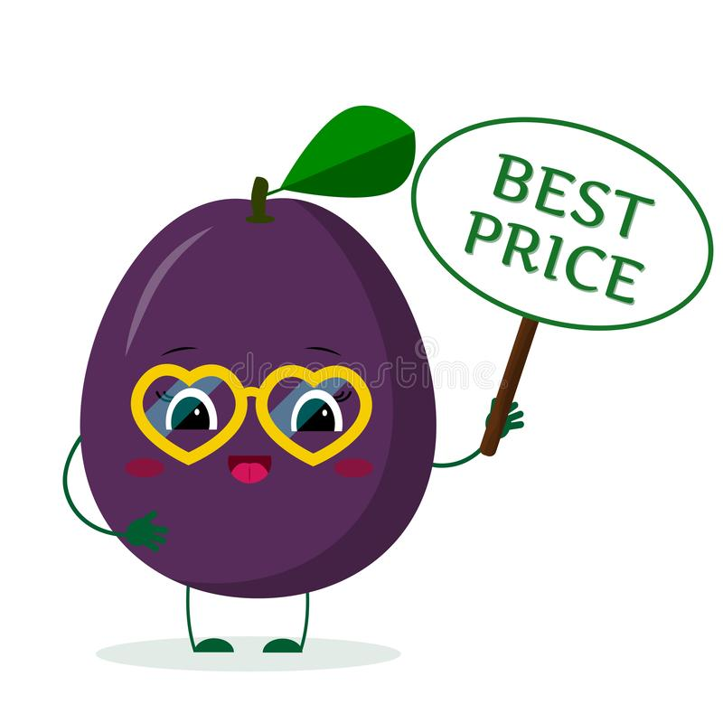Kawaii ute purple plum cartoon character in yellow heart glasses in the hands of the plate is the best price. Vector illustration. A flat style royalty free illustration
