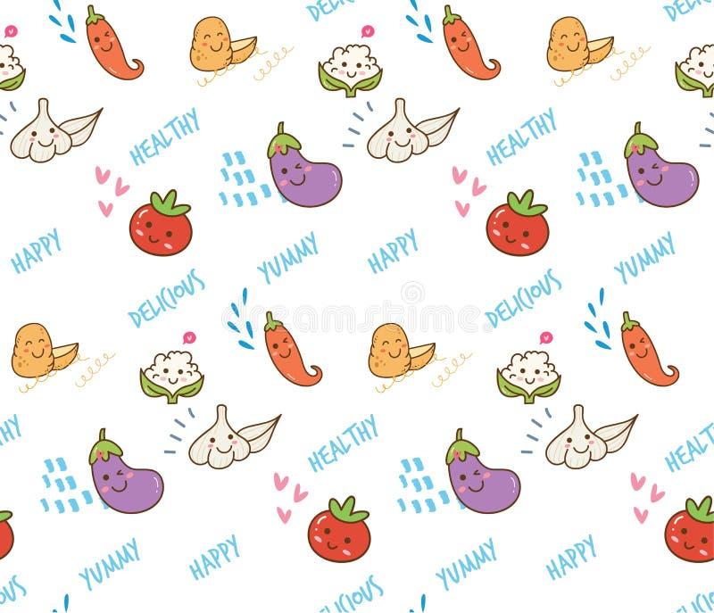 Kawaii Vegetable doodle seamless pattern royalty free illustration