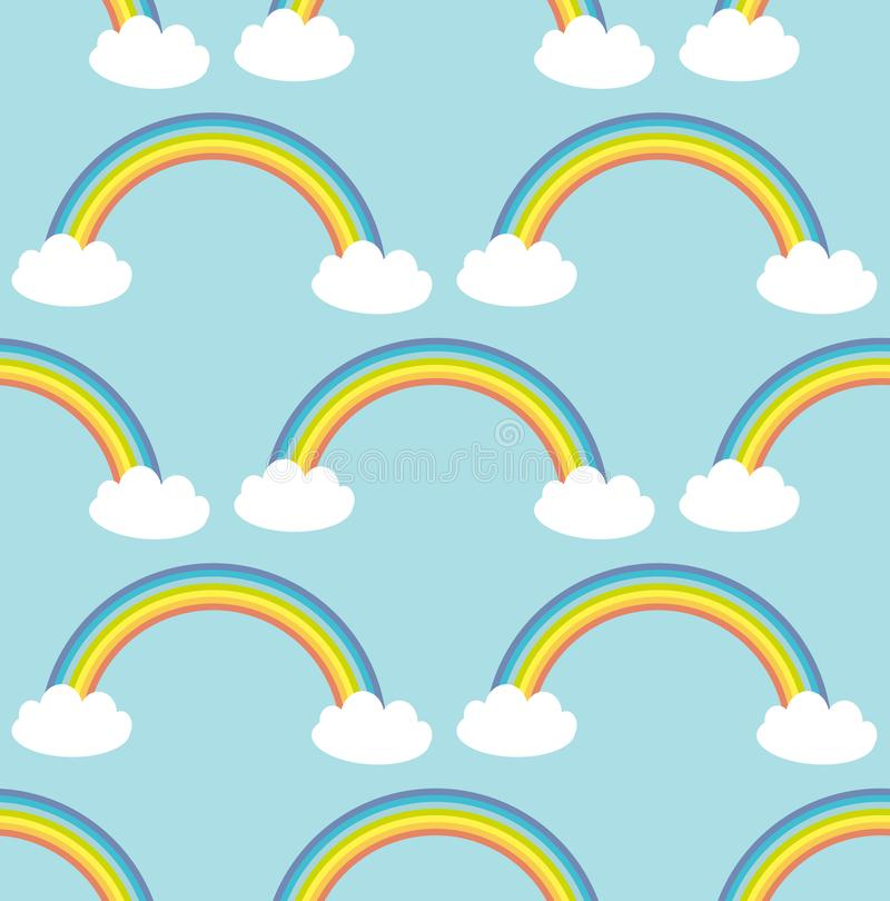 Kawaii white clouds, rainbow. Seamless pattern on blue background. Can be used for fabrics, wallpapers, websites. Vector. Illustration stock illustration