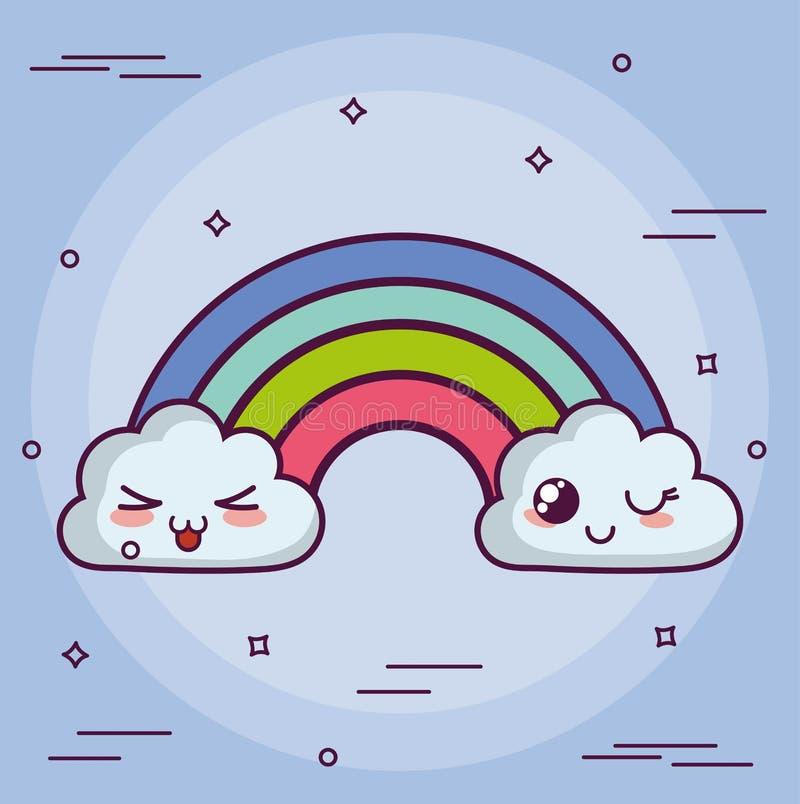 Kawaii-Wolke mit einem Regenbogen stock abbildung