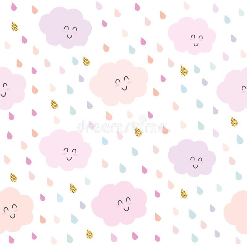 Kawaii-Wolken und nahtloser Musterhintergrund der Tropfen im Pastellrosa und im Funkeln Nette Zeichentrickfilm-Figuren stock abbildung