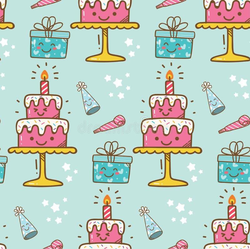 Kawaiiachtergrond van de verjaardagscake royalty-vrije illustratie